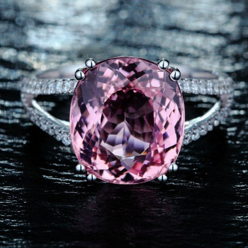 October Birthstone Pink Tourmaline Solitaire Ring - Fantasy Jewelry Online