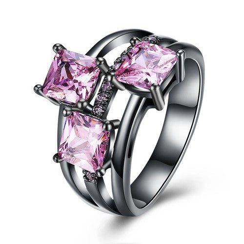 October Birthstone Pink Tourmaline Trinity Ring - Fantasy Jewelry Online