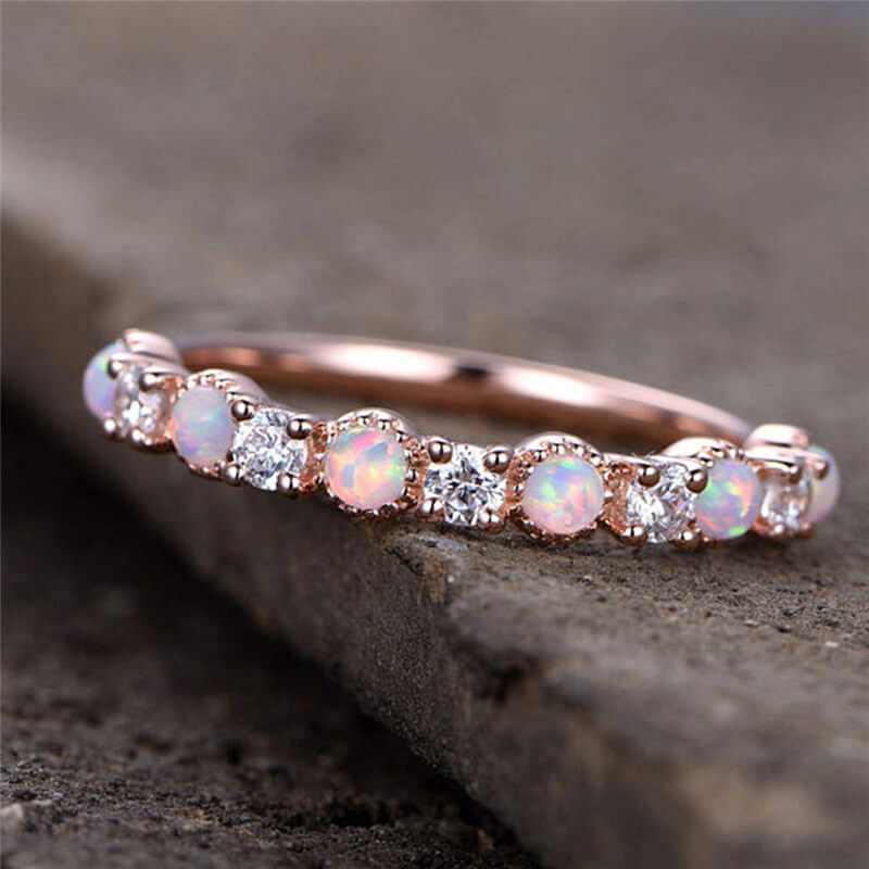 October Birthstone Stacking White Fire Opal Princess Ring - Fantasy Jewelry Online