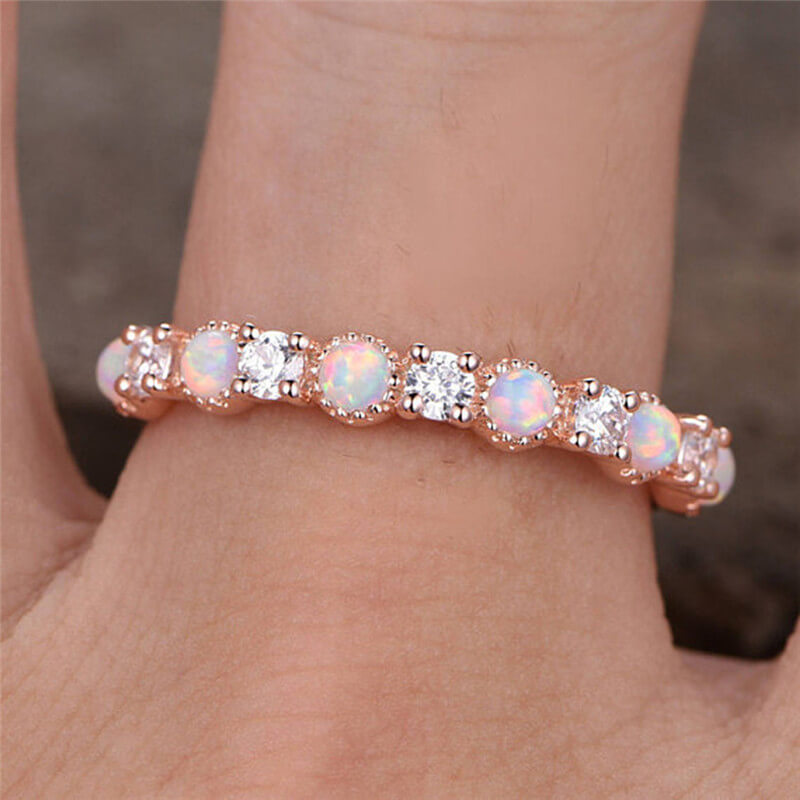 October Birthstone Stacking White Fire Opal Princess Ring