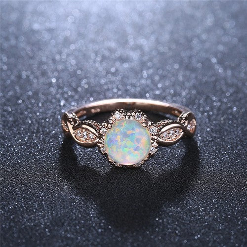 October Birthstone White Fire Opal Rose Gold Ring - Fantasy Jewelry Online