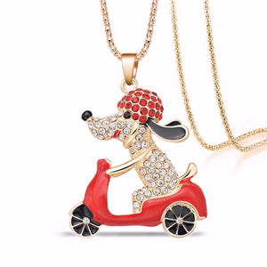 Out For A Spin Dog Necklace - Fantasy Jewelry Online