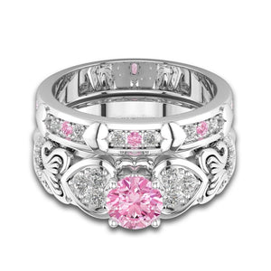 October Birthstone Pink Tourmaline Romantic Hearts Princess Ring Set - Fantasy Jewelry Online