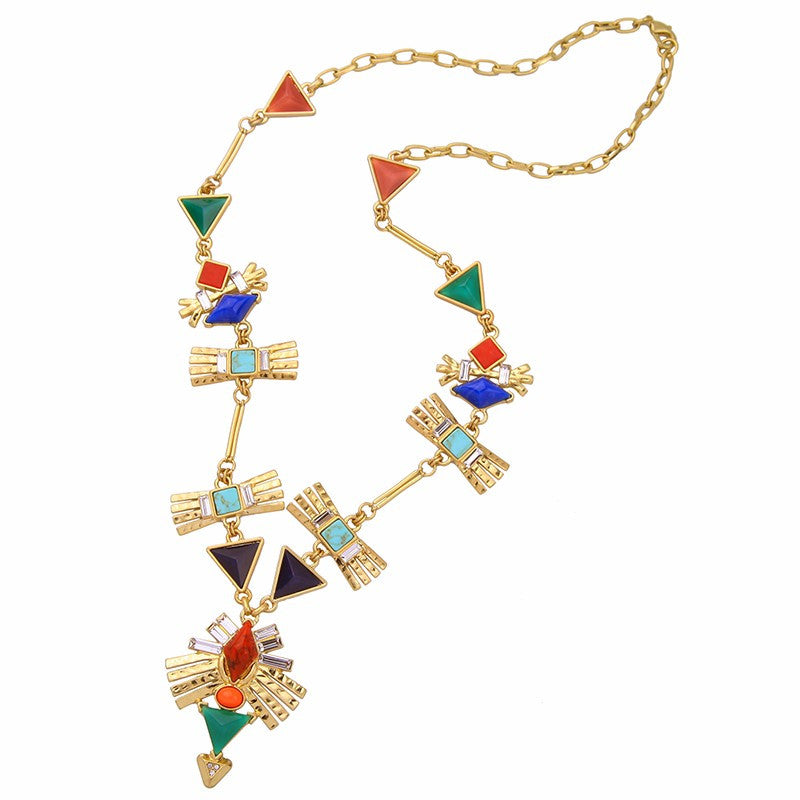 Scarlett Multicolor Geometric Necklace - Fantasy Jewelry Online