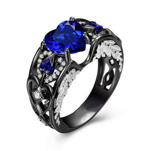 September Birthstone Black Gold Filled Sapphire Angel Wing Ring - Fantasy Jewelry Online