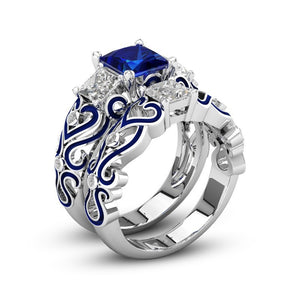 September Birthstone Sapphire Princess Ring Set - Fantasy Jewelry Online