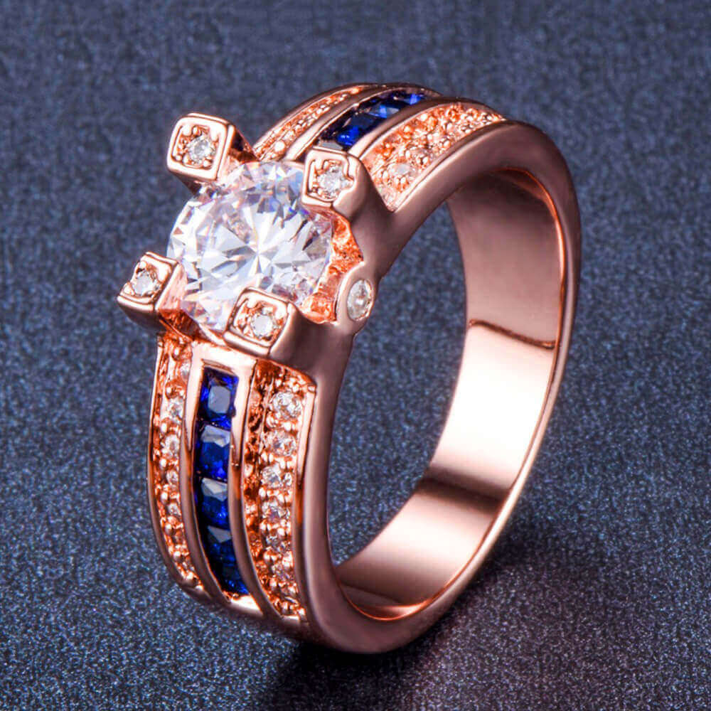September Birthstone Sapphire Rose Gold Filled Princess Ring - Fantasy Jewelry Online