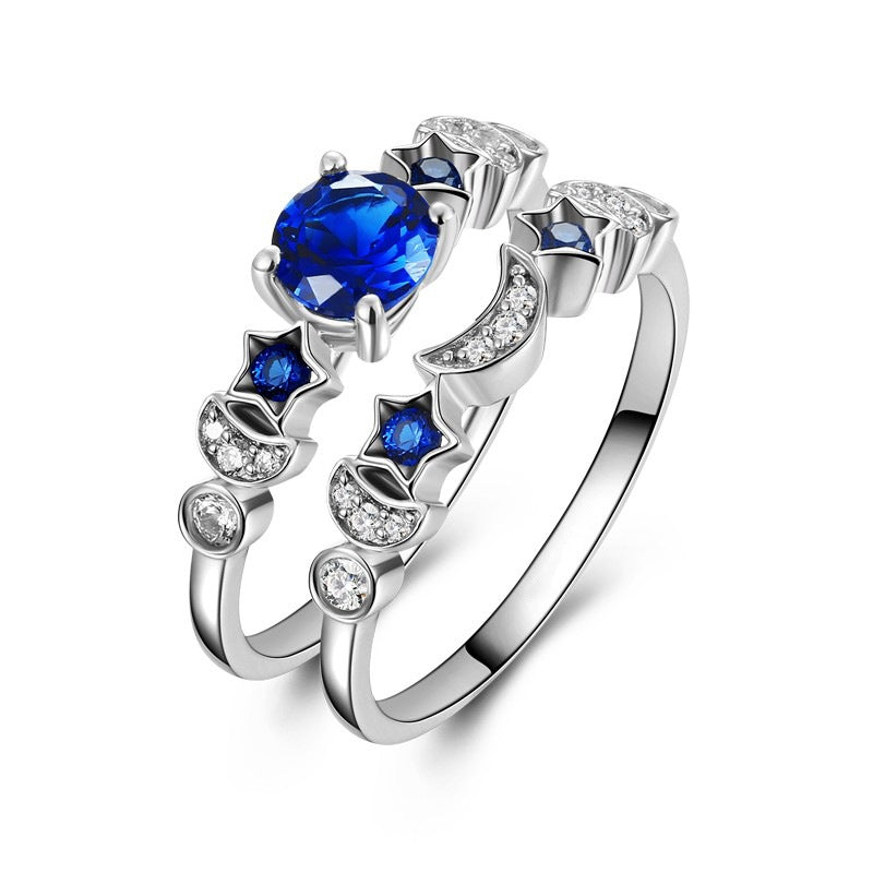September Birthstone Sapphire Sun Moon Stars Princess Ring Set - Fantasy Jewelry Online