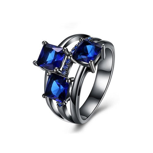 September Birthstone Sapphire Trinity Ring - Fantasy Jewelry Online