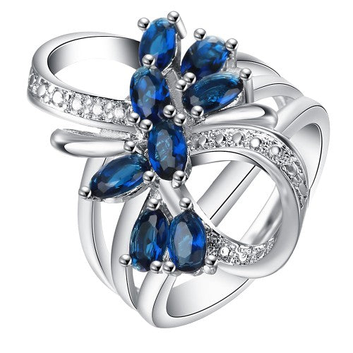 September Birthstone Simulated Sapphire Floral Twist Princess Ring