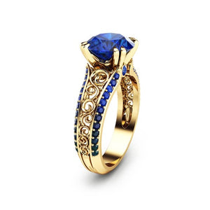 September Birthstone Simulated Sapphire Gold Openwork Princess Ring - Fantasy Jewelry Online