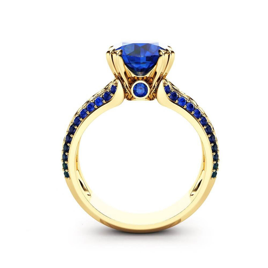 September Birthstone Simulated Sapphire Gold Openwork Princess Ring