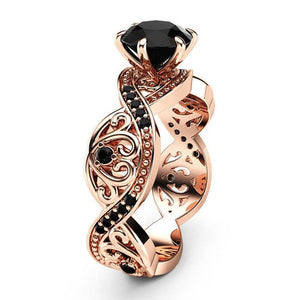 Simulated Black Diamond Rose Gold Twist Princess Ring - Fantasy Jewelry Online
