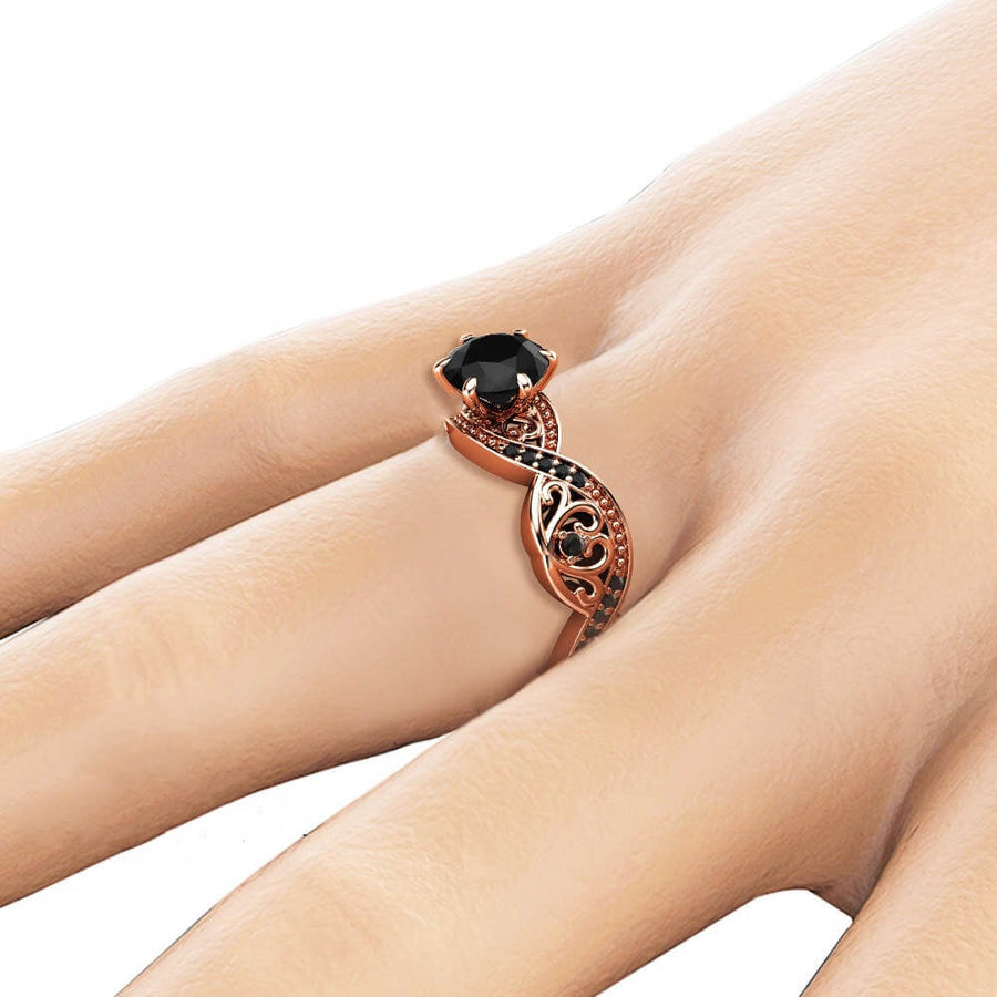 Simulated Black Diamond Rose Gold Twist Princess Ring