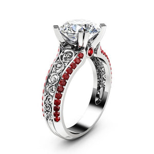 Simulated Diamond And Ruby Openwork Princess Ring