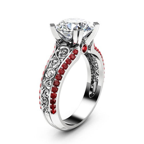 Simulated Diamond And Ruby Openwork Princess Ring - Fantasy Jewelry Online