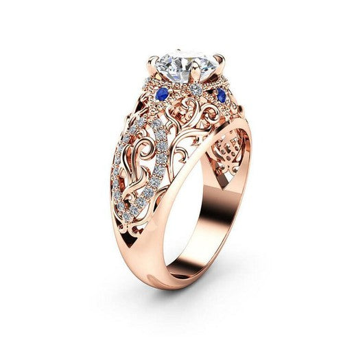 Simulated Diamond And Sapphire Rose Gold Openwork Luxe Ring - Fantasy Jewelry Online