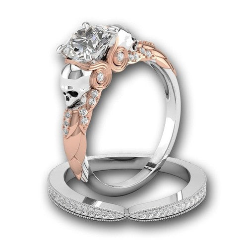 Simulated Diamond Double Skull Two Tone Princess Ring Set - Fantasy Jewelry Online
