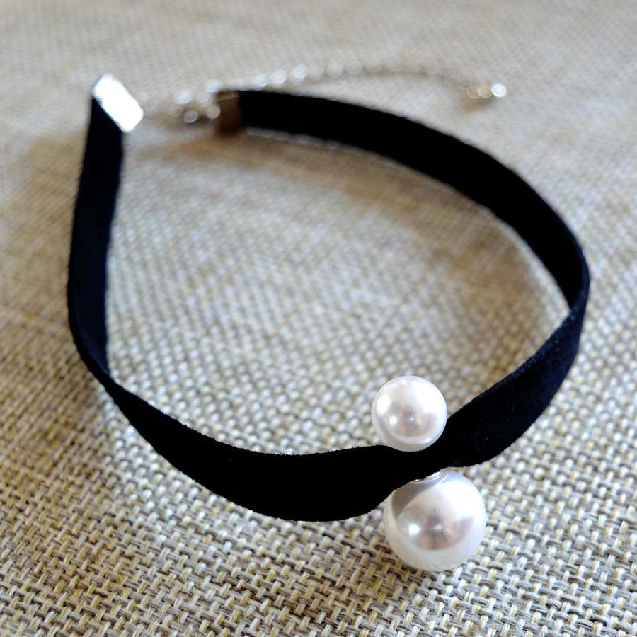 Simulated Double Pearl Choker - June Birthstone Pearl - Fantasy Jewelry Online