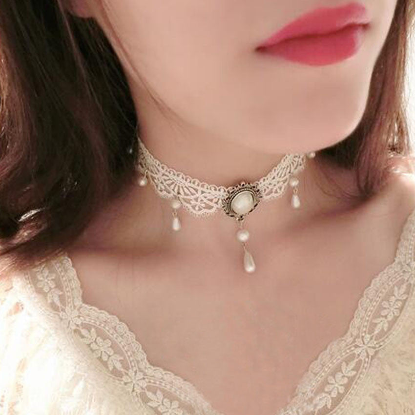Simulated Pearls Lace Choker - June Birthstone Pearl - Fantasy Jewelry Online