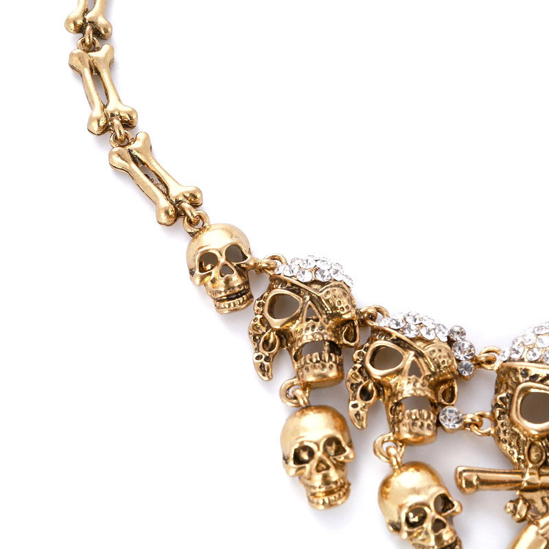 Skeleton Crystals Skulls Necklace - Fantasy Jewelry Online