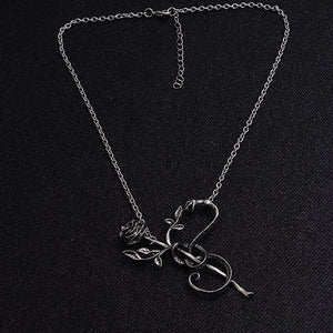 Snake Rose Pendant Necklace - Fantasy Jewelry Online