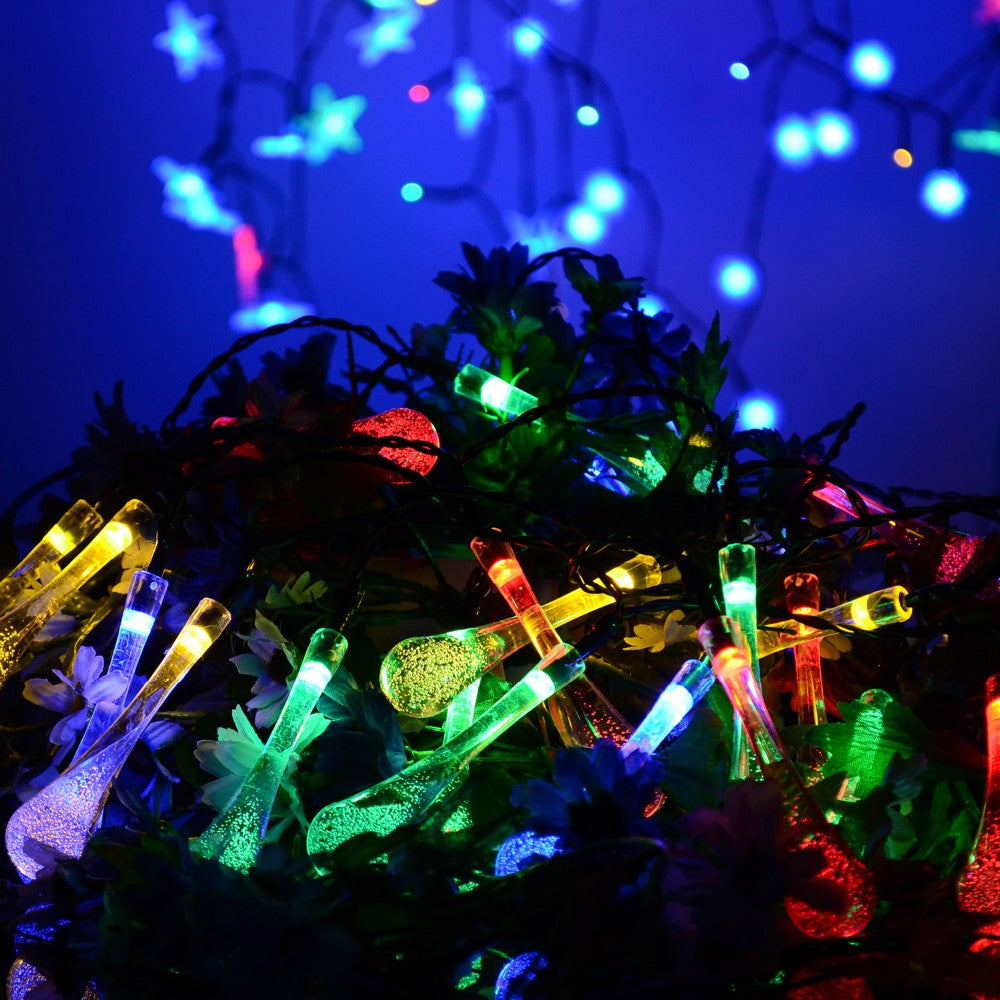 Solar-Powered Raindrop LED String Lights - Fantasy Jewelry Online