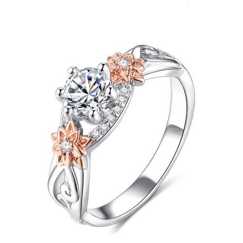 Solitaire Two Tone Floral Princess Ring - Fantasy Jewelry Online