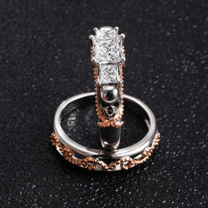 Trinity Two Tone Skull Princess Ring Set - Fantasy Jewelry Online