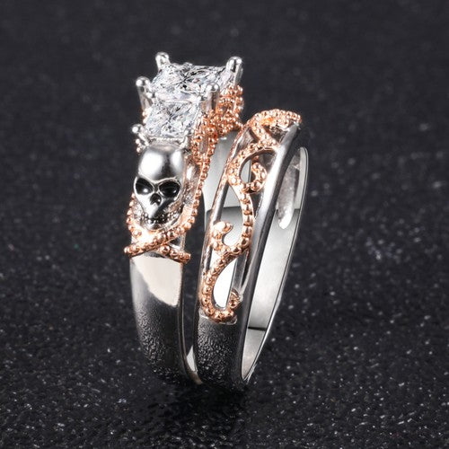 Trinity Two Tone Skull Princess Ring Set