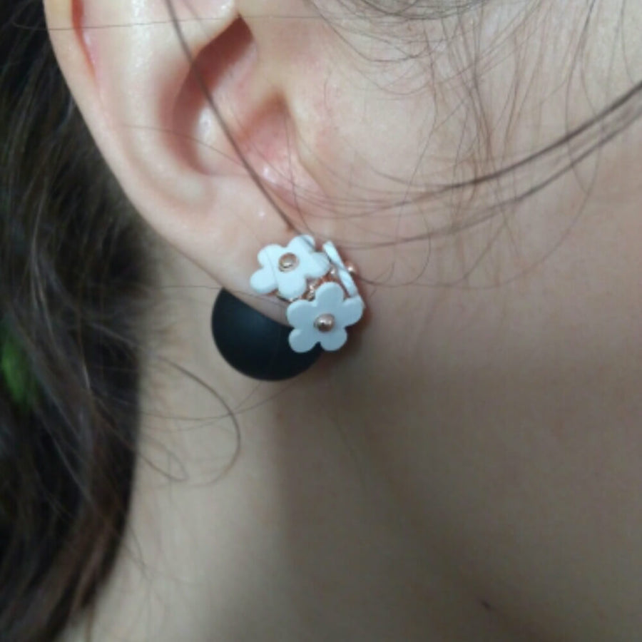 Triple Flowers Simulated Pearl Stud Earrings - June Birthstone Pearl - Fantasy Jewelry Online