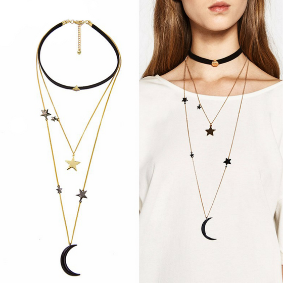 Triple Layer Stars Moon Choker Necklace - Fantasy Jewelry Online