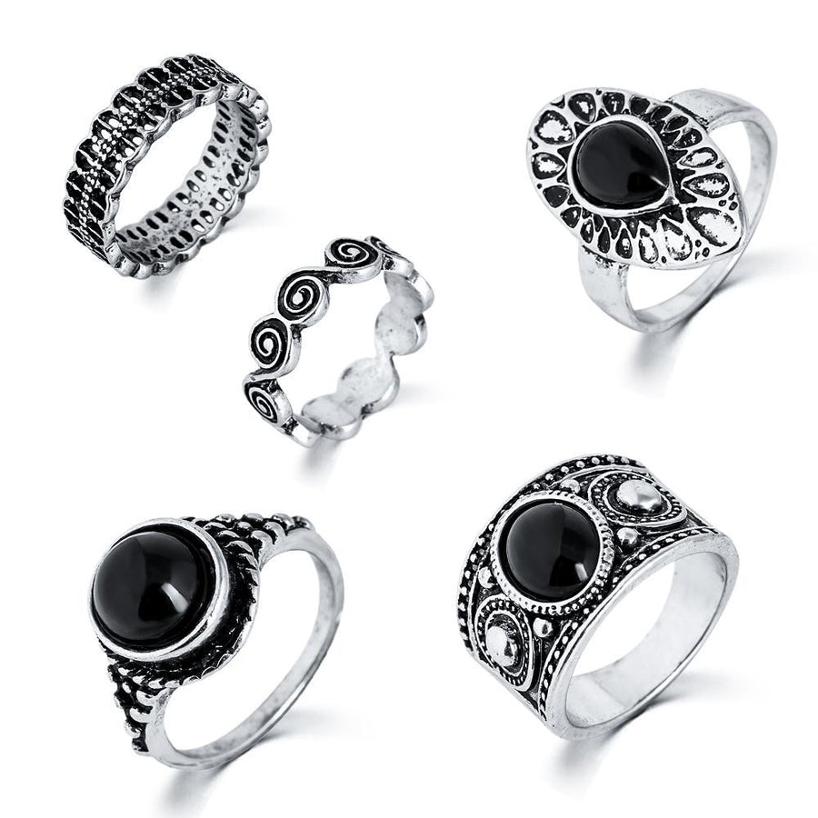 5 piece Bohemian Vintage Style Rings Set - Fantasy Jewelry Online