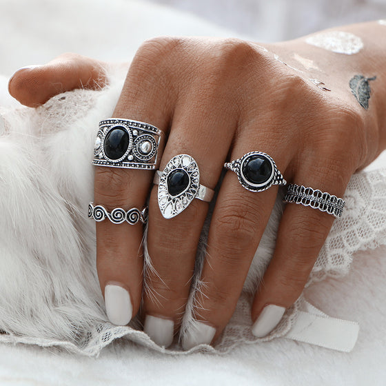 5 piece Bohemian Vintage Style Rings Set