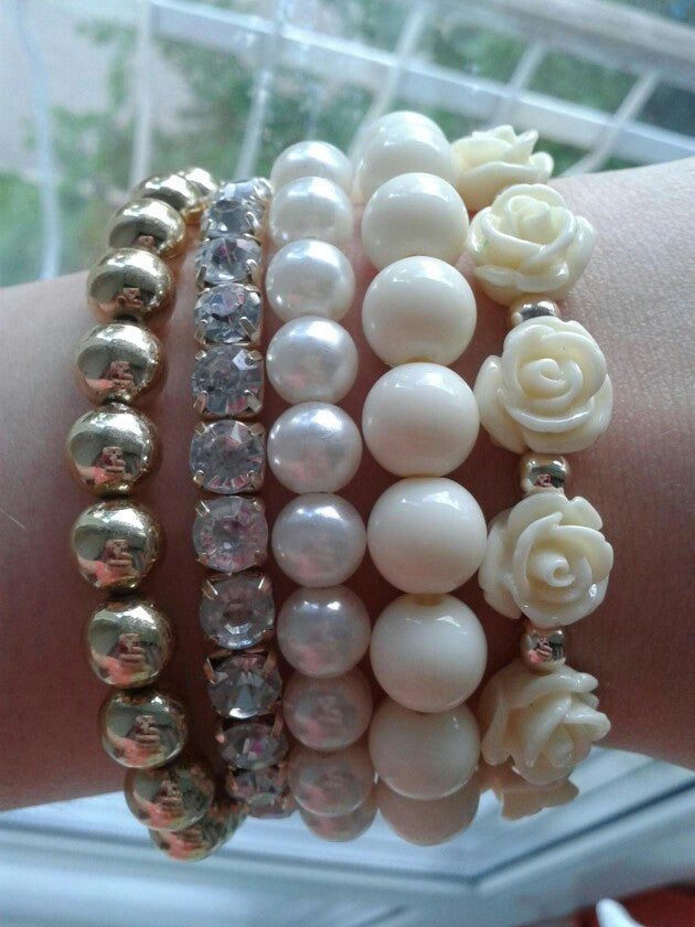 Multistrands Simulated Pearl Stretch Rose Beaded Bracelet - June Birthstone Pearl - Fantasy Jewelry Online