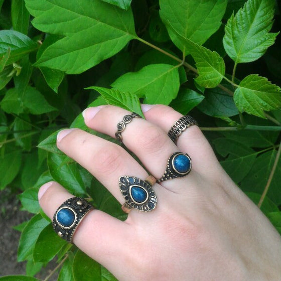 5 piece set Vintage Blue Stone Rings - Fantasy Jewelry Online