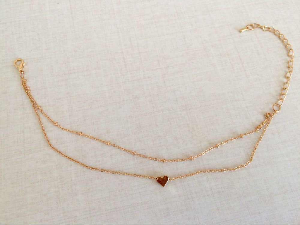 Heart Pendant Double Chains Golden Anklet - Fantasy Jewelry Online
