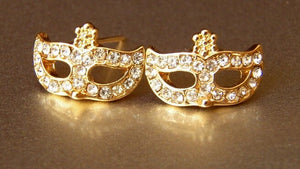 Rhinestones Magic Mask Stud Earrings - Fantasy Jewelry Online