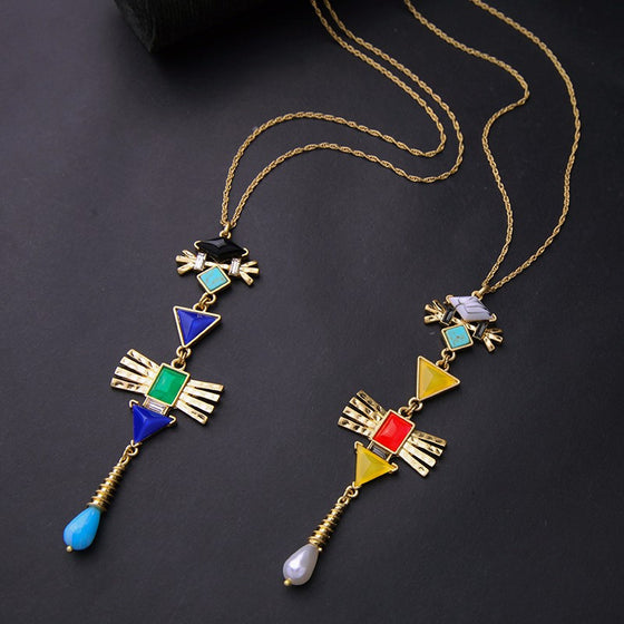 Vanda Geometric Lariat Necklace