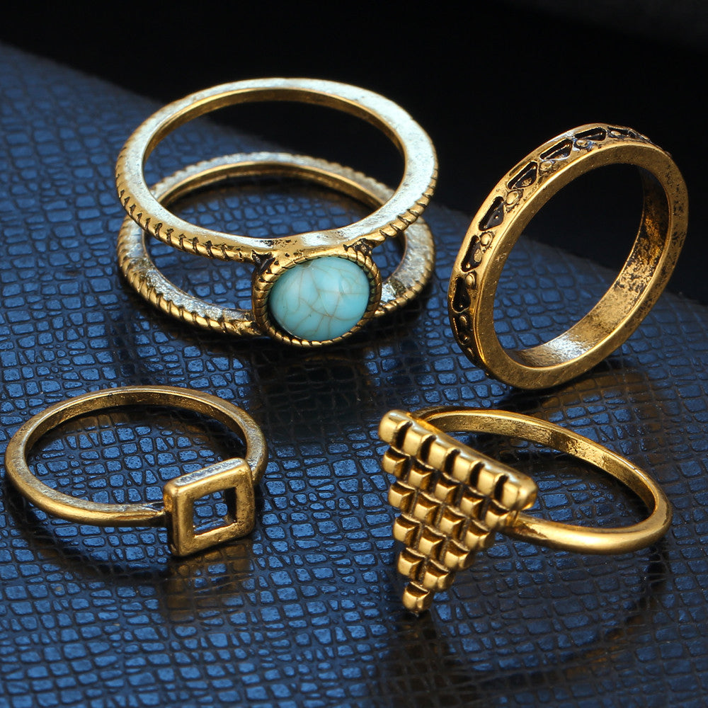 4 Piece Bohemian Geometric Rings Set