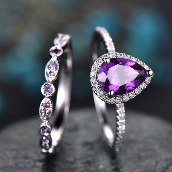Water Drop Luxe Princess Ring Set - Fantasy Jewelry Online
