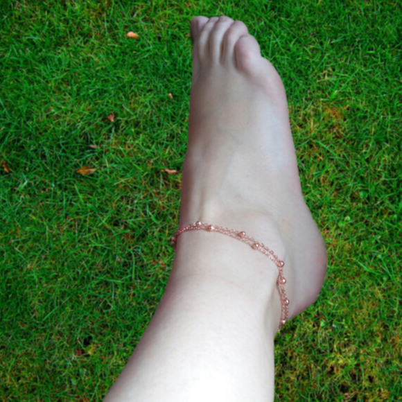 Barefoot Beach Double Chain Anklet - Fantasy Jewelry Online