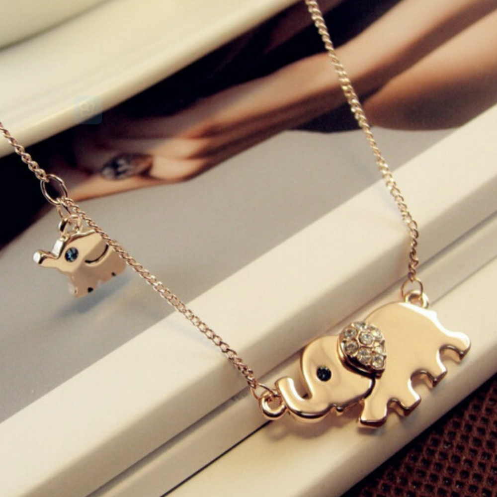 Cute Baby and Mommy Elephant Necklace - Fantasy Jewelry Online