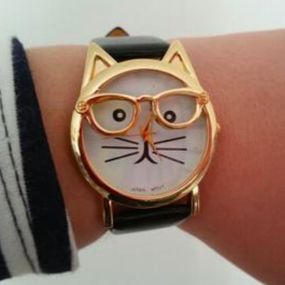 Cat Fashion Faux Leather Strap Wristwatch - Fantasy Jewelry Online