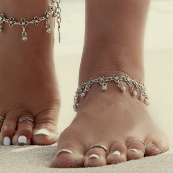 Ancient Bead Beach Barefoot Anklet - Fantasy Jewelry Online