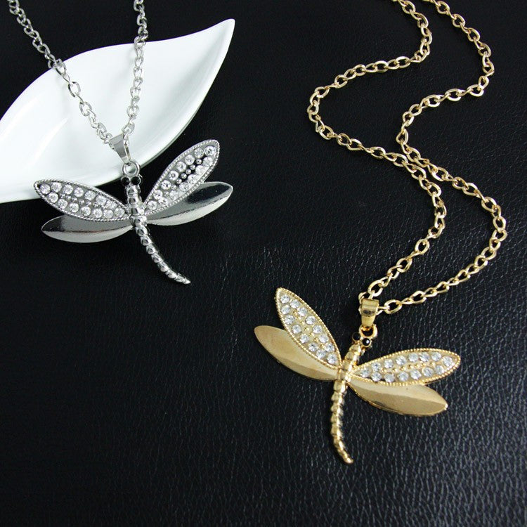 Rhinestone Dragonfly Necklace - Fantasy Jewelry Online