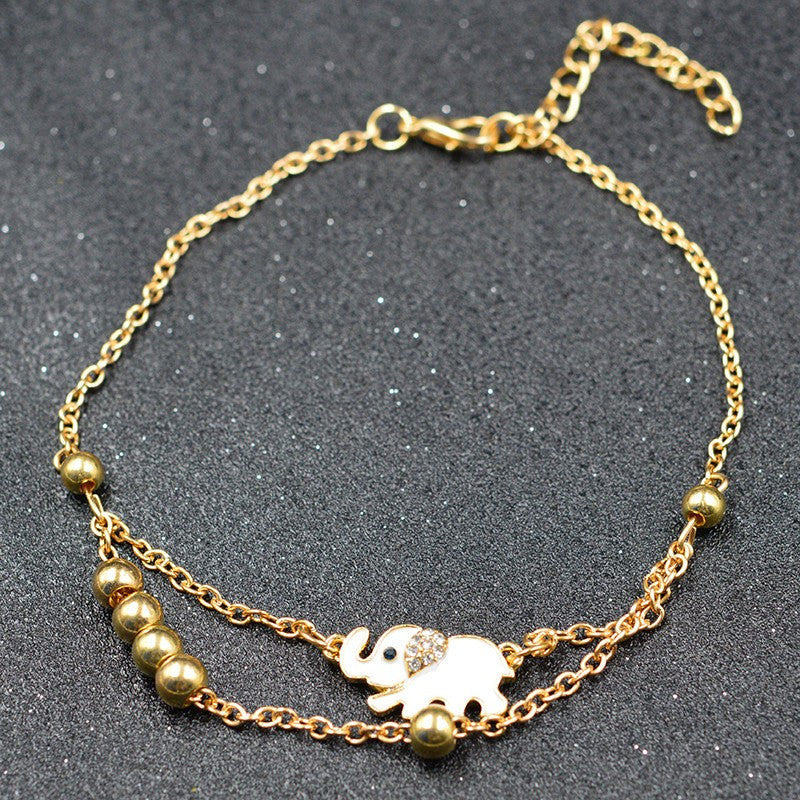 Elephant Charm Double Layer Anklet