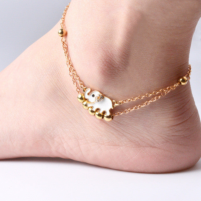 Elephant Charm Double Layer Anklet - Fantasy Jewelry Online