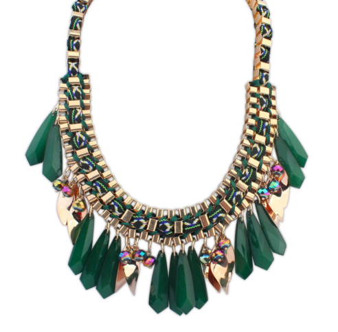 Faceted Rhinestone and Charms Statement Necklace
