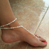Faux Pearl Anklet Barefoot Beach Sandals with Toe Ring - Fantasy Jewelry Online